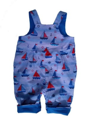 Indigo Sailing Boat Reversible Dungarees (avail. 0-3m only ) sale