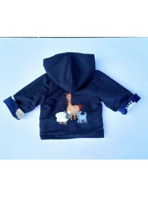 Navy Water Resistant / Navy Sheep Fleece Jacket with Farmyard Gathering Applique (avail. 3m - 4yrs)