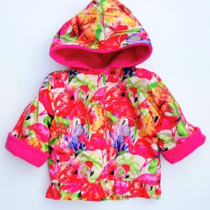 Flamingo Water Resistant/Cerise Fleece Jacket (avail. 6m - 6yrs)  LIMITED EDITION