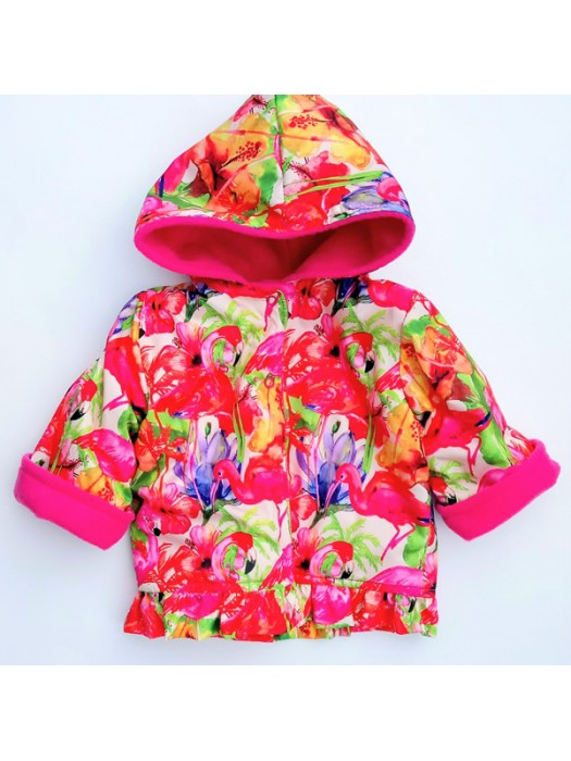 Flamingo Water Resistant / Cerise Fleece Jacket (avail. 6m - 6yrs)  LIMITED EDITION