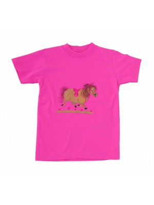 Short Sleeve Cerise T-shirt with a Pony Applique (avail. 6m - 8yrs)