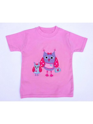 Short Sleeve Pale Pink T-shirt with Little Owl Applique (avail. 3m - 8yrs)