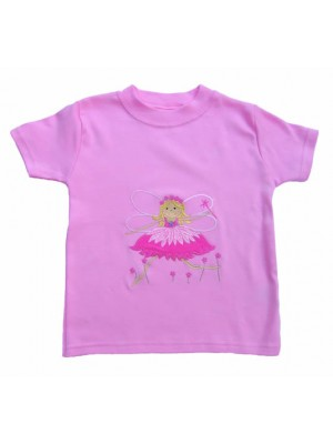 Short Sleeve Pale Pink T-Shirt with Fairy Applique (avail. 6m - 8yrs)