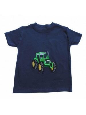 Short Sleeve Navy T-shirt with Green Tractor Applique (avail. 3m - 8yrs)