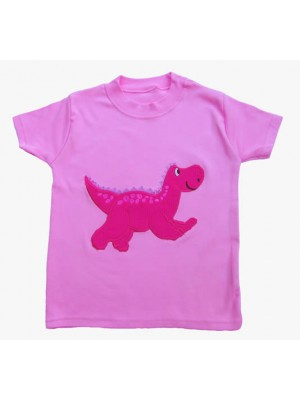 Short Sleeve Pale Pink T-Shirt with Dinosaur Applique (avail. 6m - 8yrs)