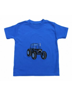 Short Sleeve Royal T-Shirt with Tractor Applique (avail. 3m - 8yrs)