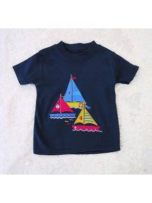 Short Sleeve Navy T-shirt with Ocean Applique (avail. 3m - 8yrs)