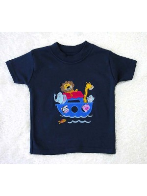 Short Sleeve Navy T-Shirt with Noah's Ark Applique (avail.  0 - 4yrs)