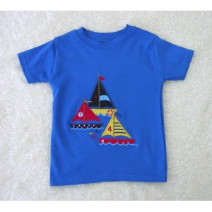 Short Sleeve Royal  T-shirt with Ocean Applique (avail. 3m - 8yrs)