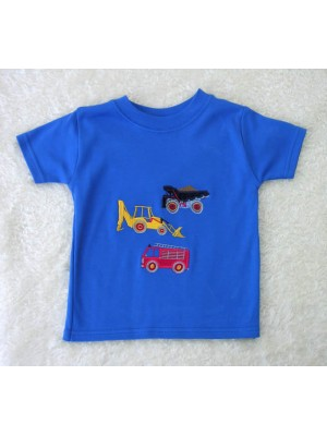Short Sleeve Royal  T-shirt with Vehicle Applique (avail. 3m - 8yrs)