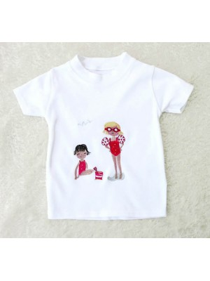 "Short Sleeve White T-shirt with ""Belle"" Applique (avail. 6m - 6yrs)"
