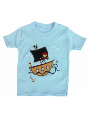 Short Sleeve Pale Blue T-Shirt with Boy Pirate Ship Applique (avail. 0 - 2yrs)