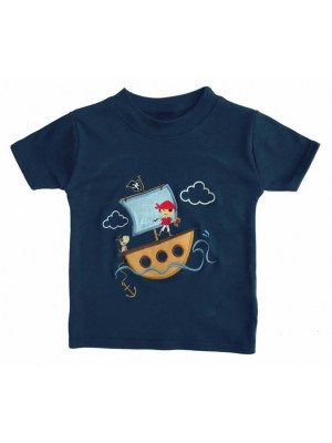 Short Sleeve Navy T-Shirt with Pirate Boy Applique (avail. 3m - 8yrs)