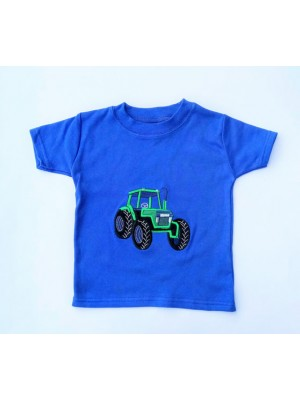 Short Sleeve Royal T-Shirt with Green Tractor (avail. 0 - 8yrs)