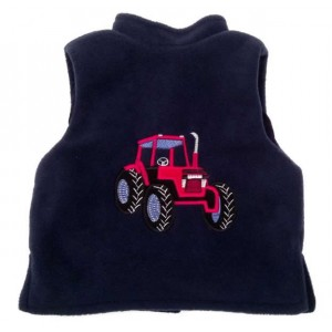 Navy Fleece / Navy Cord Bodywarmer with Red Tractor Applique (avail. 3m-8yrs)
