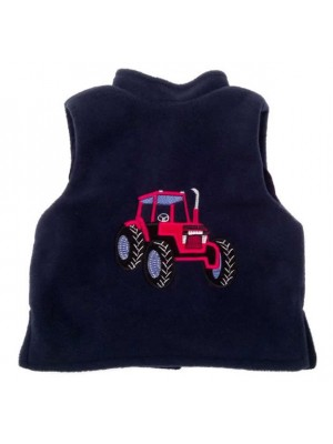 Navy Fleece / Navy Cord Bodywarmer with Red Tractor Applique (avail. 3m - 10yrs)