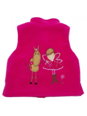 Cerise Fleece / Cerise Cord Bodywarmer with Pony/Fairy Applique (avail. 3m - 8yrs)