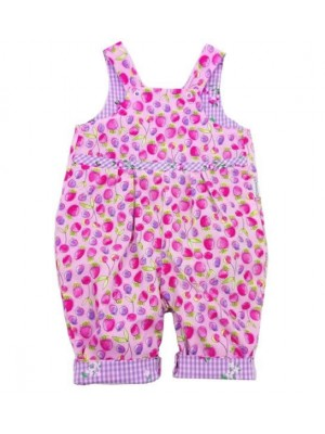 Pink Strawberry Reversible Dungarees (avail. 0 - 3yrs)