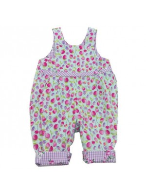 Turquoise Strawberry Reversible Dungarees (avail. 0 - 3yrs)