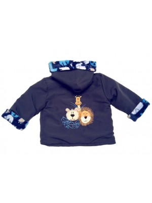 Navy Water Resistant / Jungle Fleece Jacket with Jungle Applique (avail. 3m - 4yrs)