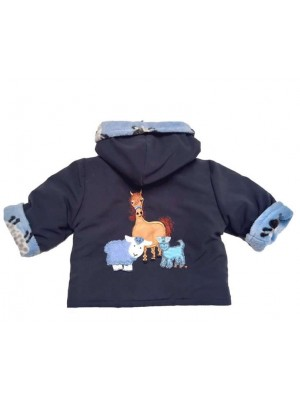 Navy Water Resistant / Blue Sheep Fleece Jacket with Farmyard Gathering Applique (avail. 3m - 4yrs)
