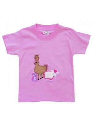 Short Sleeve Pale Pink T-Shirt with Farmyard Gathering Applique (avail. 0 - 8yrs)