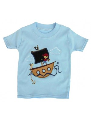 Short Sleeve Pale Blue T-Shirt with Pirate Boy Applique (avail. 0 - 8yrs)