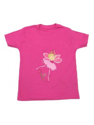 Short Sleeve Cerise T-shirt with Fairy Applique (avail. 3m - 8yrs)