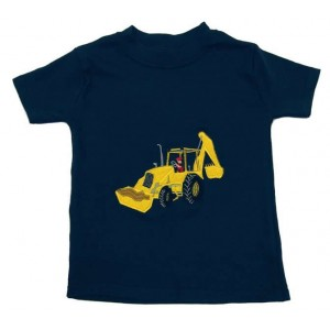 Short Sleeve Navy T-shirt with Digger Applique (avail. 3m - 8yrs)