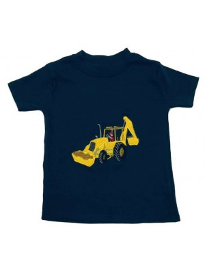 Short Sleeve Navy T-shirt with Digger Applique (avail. 6m - 8yrs)