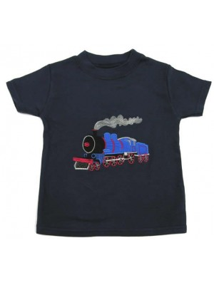 Short Sleeve Navy T-Shirt with Train Applique (avail. 0m - 8yrs)