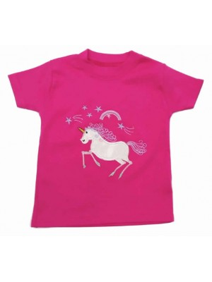 Short Sleeve Cerise T-Shirt with Unicorn Applique (avail. 6m - 8yrs)