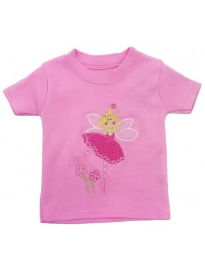 Short Sleeve Pale Pink T-Shirt with Fairy Applique (avail. 0 - 8yrs)