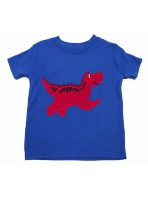 Short Sleeve Royal T-shirt with Dinosaur Applique (avail. 3m - 8yrs)
