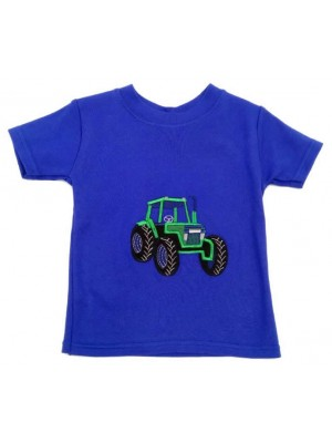 Short Sleeve Royal T-Shirt with Green Tractor (avail. 3 - 8yrs)