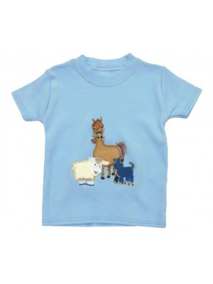 Short Sleeve Pale Blue T-Shirt with Farmyard Gathering Applique (avail. 0 - 8yrs)