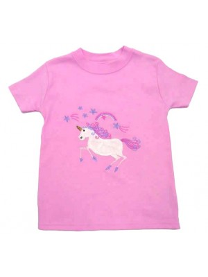 Short Sleeve Pale Pink T-Shirt with Unicorn Applique (avail. 3m - 8yrs)