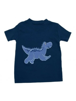Short Sleeve Navy T-Shirt with Blue Dinosaur Applique (avail. 3m - 8yrs)