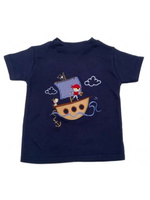 Short Sleeve Navy T-Shirt with a Harbour Pirate Boy Applique (avail. 3m - 8yrs)