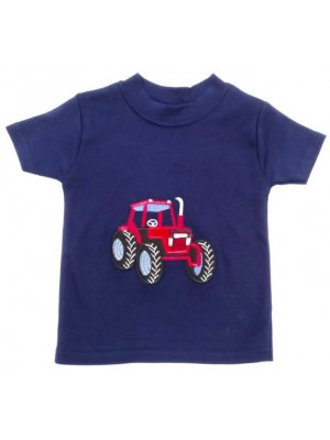 Short Sleeve Navy T-Shirt with Red Tractor Applique (avail. 6m - 8yrs)