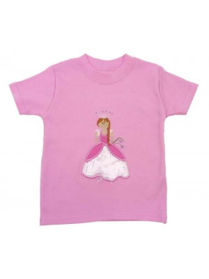 Short Sleeve Pale Pink T-shirt with Princess Applique (avail. 6m - 8yrs)