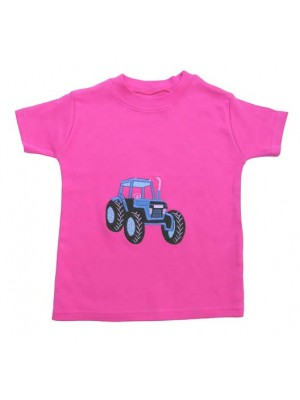 Short Sleeve Cerise T-Shirt with Tractor Applique (avail. 6m - 8yrs)