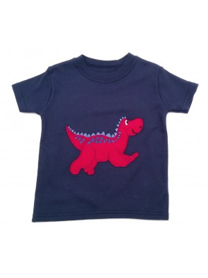 Short Sleeve Navy T-shirt with Red Dinosaur Applique (avail. 3m - 8yrs)