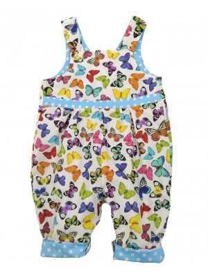 White Butterfly Reversible Dungarees (avail. 0 - 4yrs)