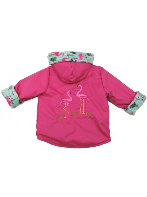 Cerise Water Resistant / Turquoise Flamingo Cuddle Fleece Jacket with a Flamingo Applique (avail. 3m - 8yrs)