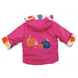 Cerise Water Resistant / Hedgehog Fleece Jacket with a Hedgehog Applique (avail. 3m - 8yrs)