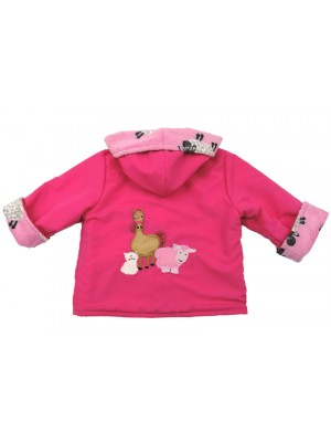 Cerise Water Resistant / Sheep Cuddle Fleece Jacket with Farmyard Gathering Applique (avail. 3m - 4 yrs)