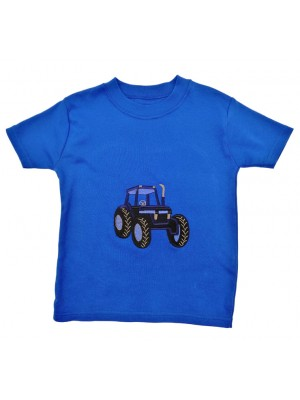 Short Sleeve Royal T-Shirt with Blue Tractor Applique (avail.  0 - 8yrs)