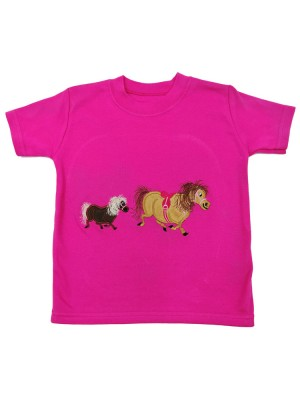 Short Sleeve Cerise T-shirt with 2 Pony Applique (avail. 0 - 8yrs)