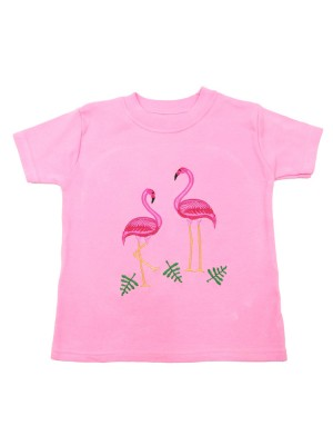 Short Sleeve Pale Pink T-shirt with Flamingo Applique (avail. 6m - 8yrs)
